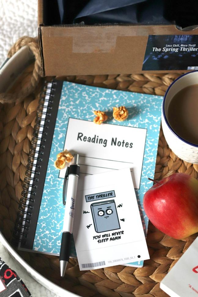 Sweet Reads Box Spring Thriller Box notebook pen and vinyl sticker