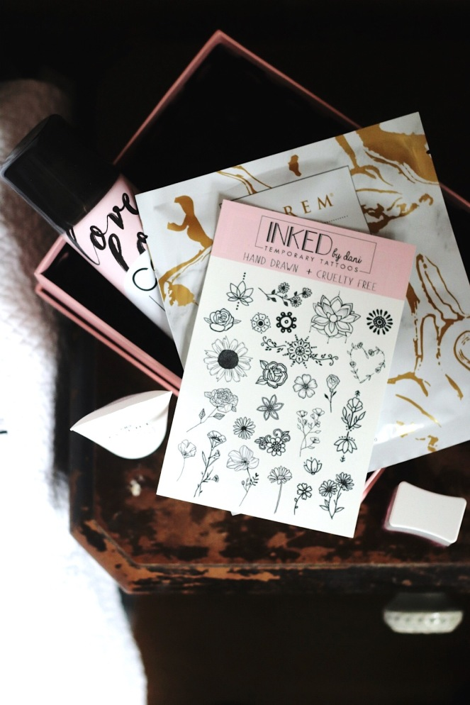 glossybox april 2020 inked by dani temporary tattoos try small things