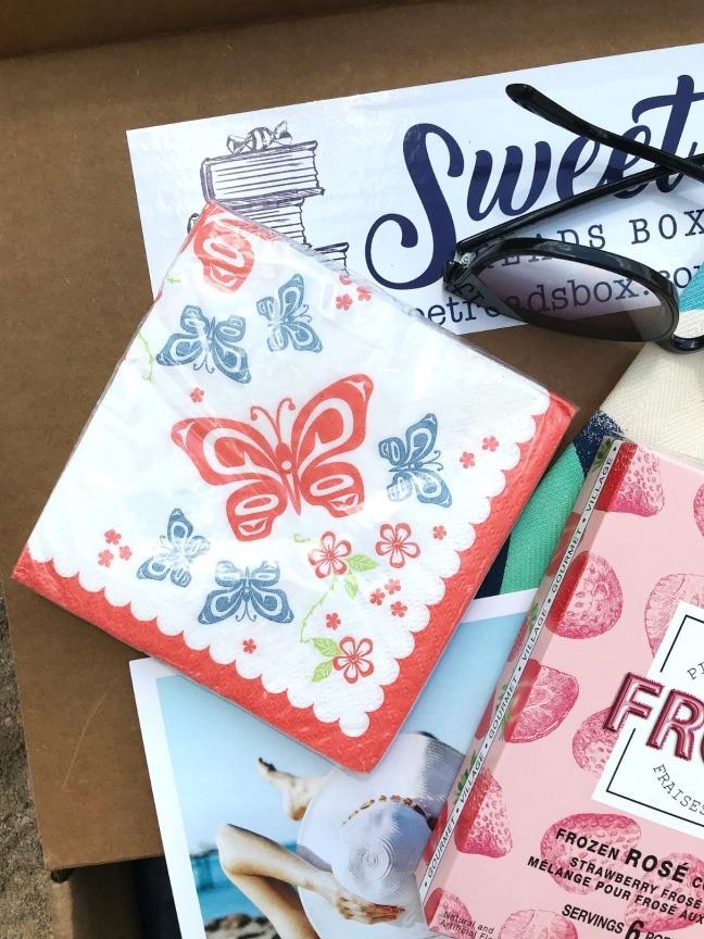 Sweet Reads Box Beach Read Box June 2020 butterfly napkins close up TST