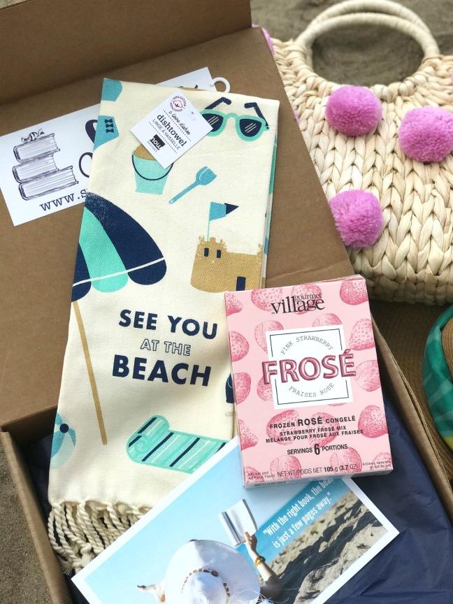 Sweet Reads Box Beach Read Box June 2020 dishtowel and frose
