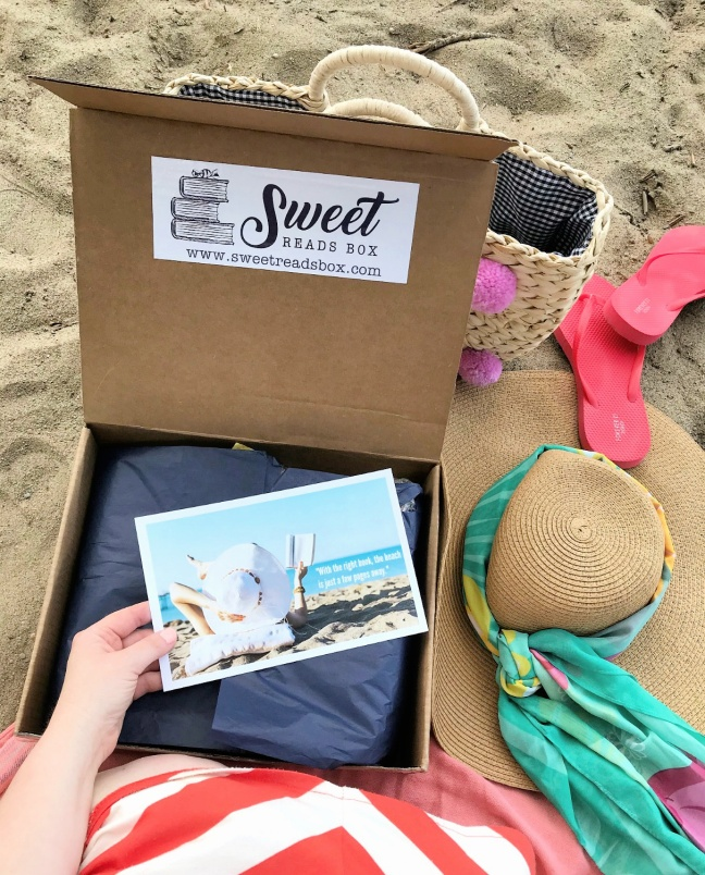 Sweet Reads Box Beach Read Box opening box on the beach-4