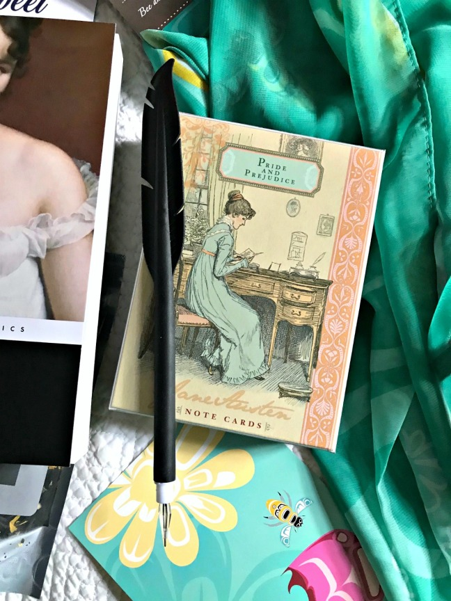 Sweet Reads Box June 2020 Jane Austen Notecards and Feather Pen